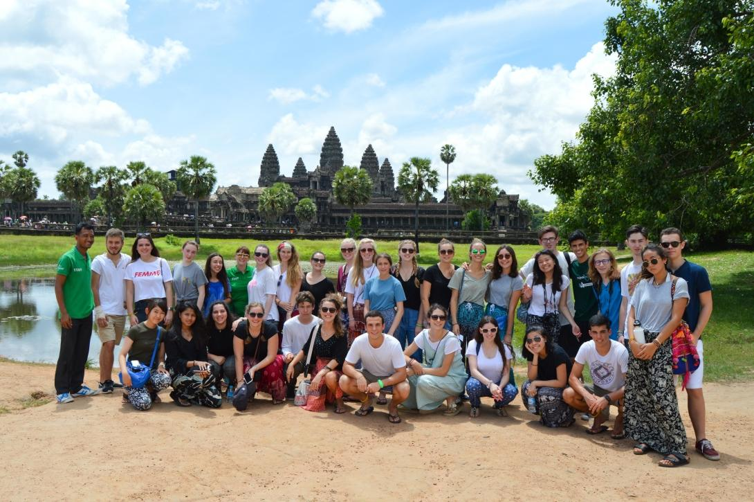 Volunteers outside the temples in Siem Reap.